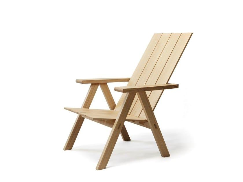 Oak deck chair with armrests ARKIPELAGO KVTT3 by Nikari
