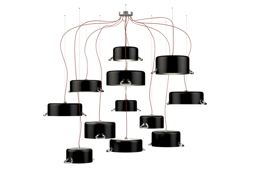 Aluminium pendant lamp POTS 12 by Minacciolo