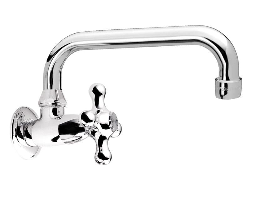 Wall-mounted 1 hole chromed brass washbasin tap REVIVAL   Wall-mounted washbasin tap by Daniel Rubinetterie