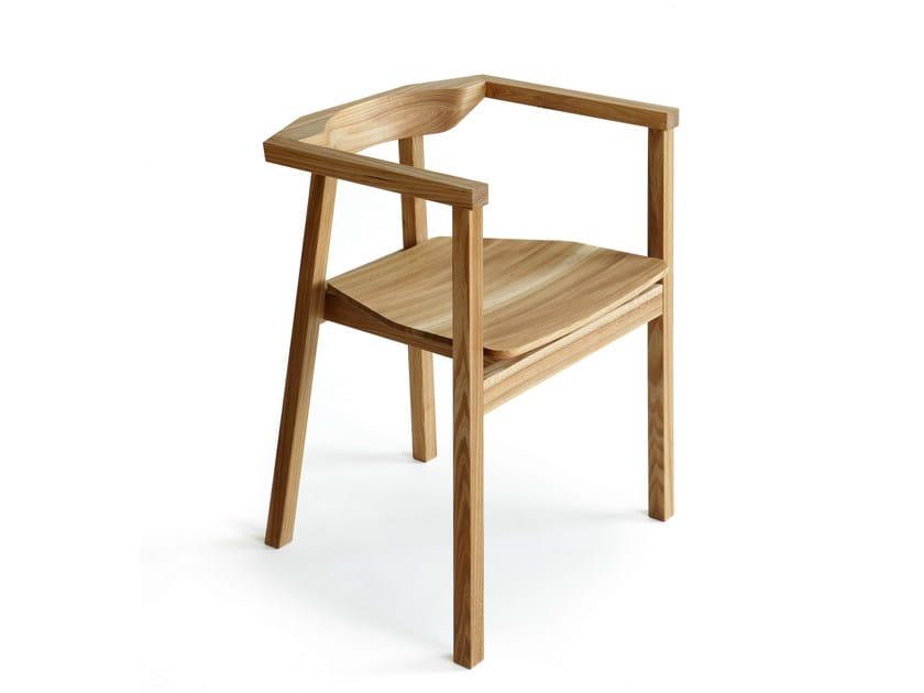 Wooden chair with armrests SKANDINAVIA UPSALA KVT6 by Nikari