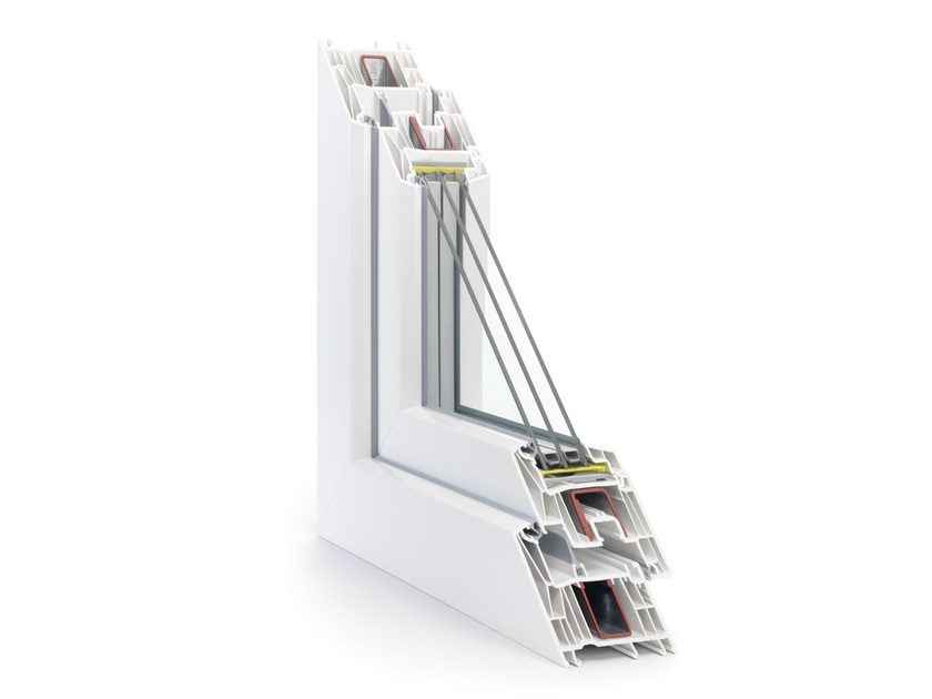 PVC triple glazed window SYNEGO by REHAU