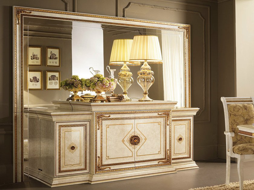 Wooden sideboard with doors with mirror LEONARDO | Sideboard with mirror by Arredoclassic