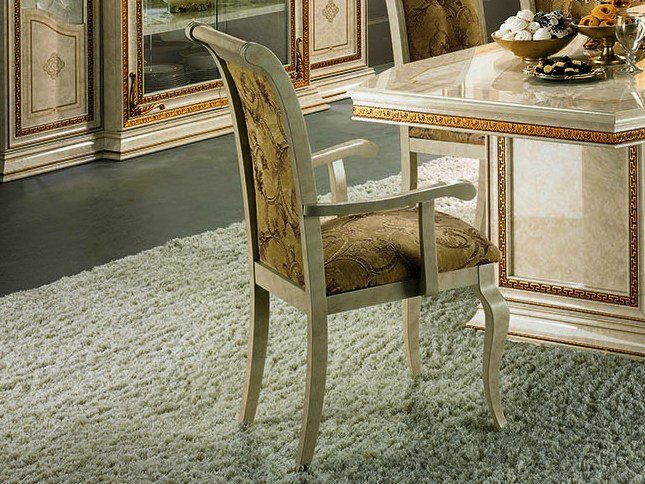 Upholstered chair with armrests LEONARDO | Chair with armrests by Arredoclassic
