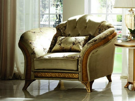 Classic style tufted upholstered fabric armchair with armrests MELODIA | Armchair by Arredoclassic