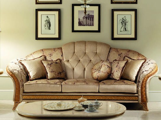 Classic style 3 seater tufted fabric sofa MELODIA | 3 seater sofa by Arredoclassic
