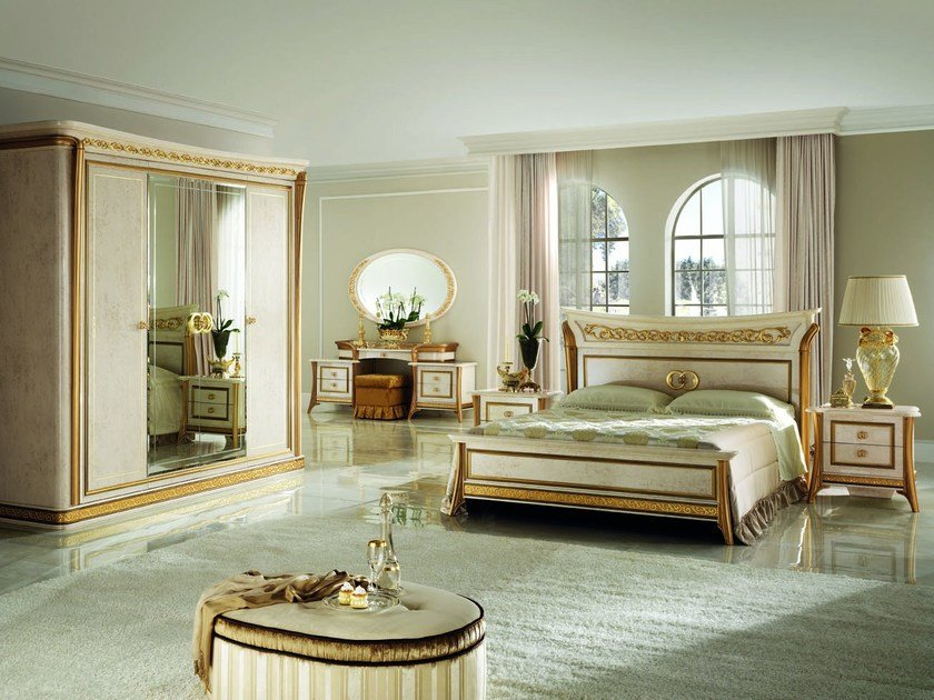Wooden double bed with high headboard MELODIA | Bed by Arredoclassic