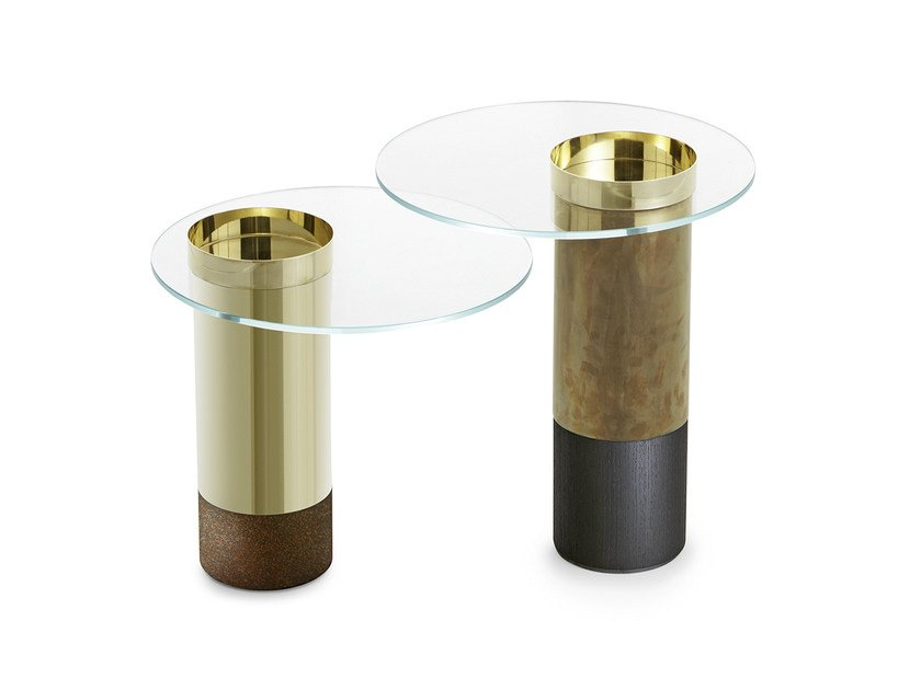 Tempered glass and brass high side table HAUMEA | High side table by Gallotti&Radice