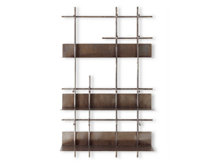 Wall-mounted copper bookcase NAVIGLI by Gallotti&Radice