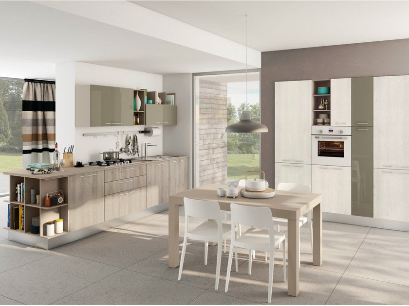 Linear fitted kitchen with handles KYRA by CREO Kitchens