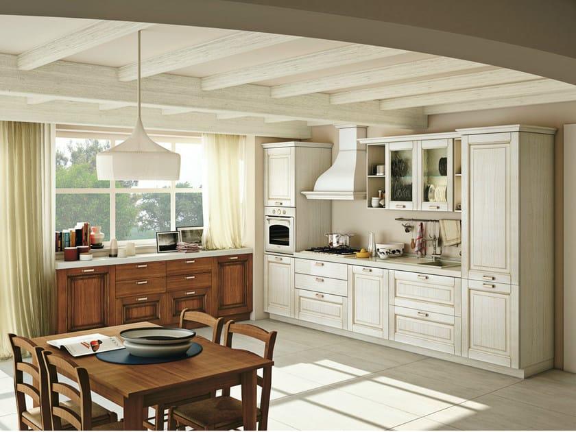 Cucina componibile lineare in legno massello con maniglie OPRAH By ...