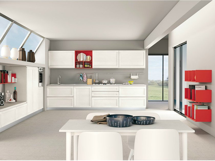 Linear ash fitted kitchen with integrated handles SELMA by CREO Kitchens