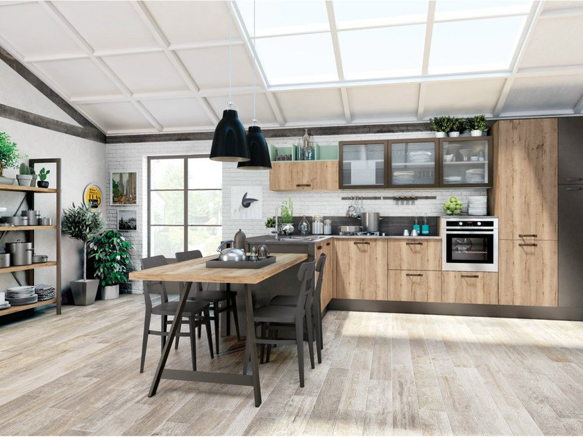 Fitted kitchen with peninsula KYRA VINTAGE 01 by CREO Kitchens