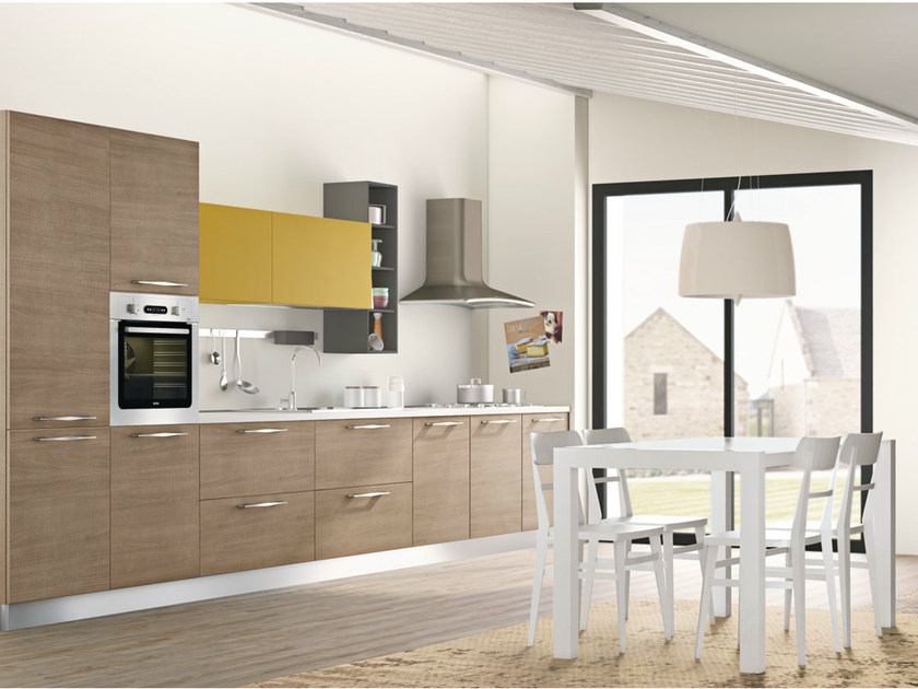 Linear fitted kitchen with handles INKA by CREO Kitchens
