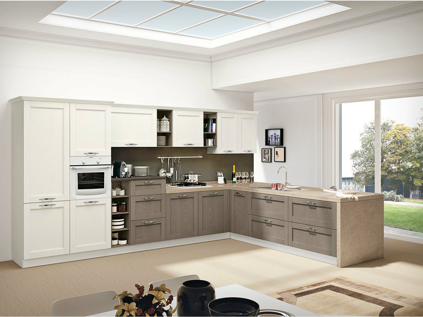 Ash fitted kitchen with peninsula IRIS by CREO Kitchens