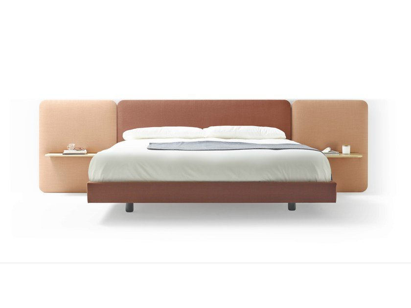 Fabric double bed with upholstered headboard LOTA by TREKU