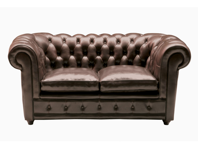 Tufted 2 seater leather sofa OXFORD | 2 seater sofa by KARE-DESIGN