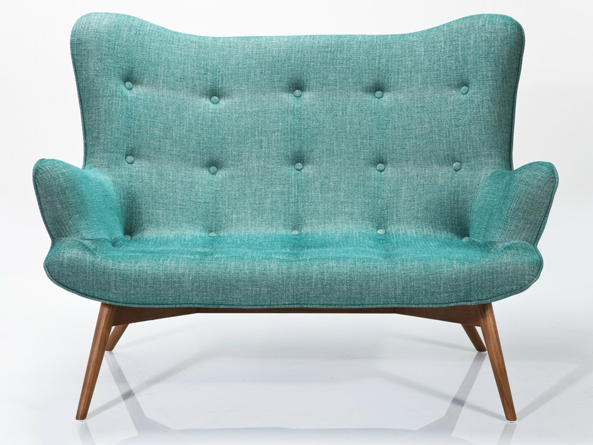 2 seater fabric sofa ANGELS WINGS RHYTHM GREEN by KARE-DESIGN