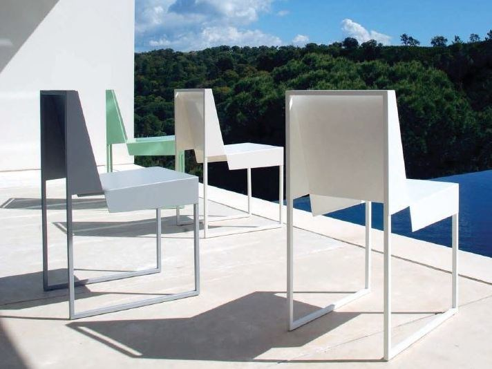 Sled base steel garden chair PAPER CHAIR by Branca Lisboa