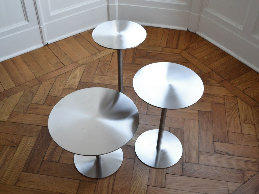 Round stainless steel coffee table ESTER by mg12