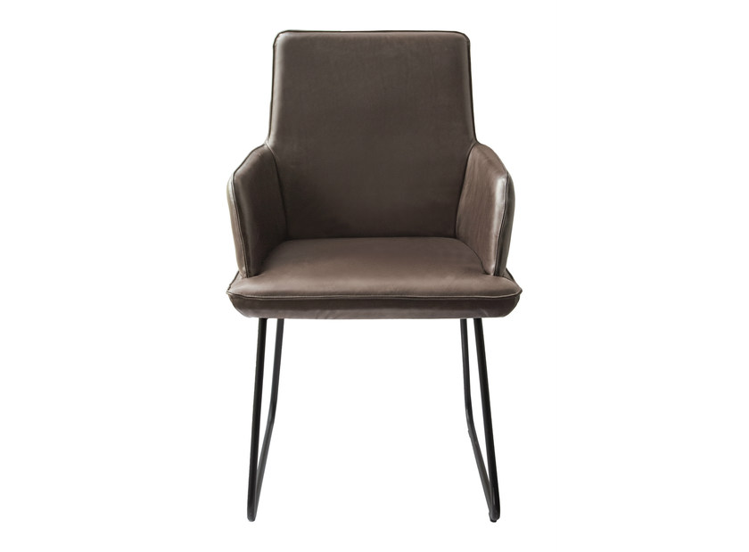 Sled base upholstered fabric chair with armrests MELLOW   Chair with armrests by KFF