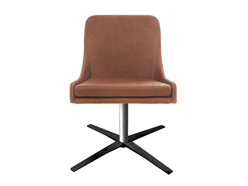 Upholstered leather chair with 4-spoke base YOUMA by KFF