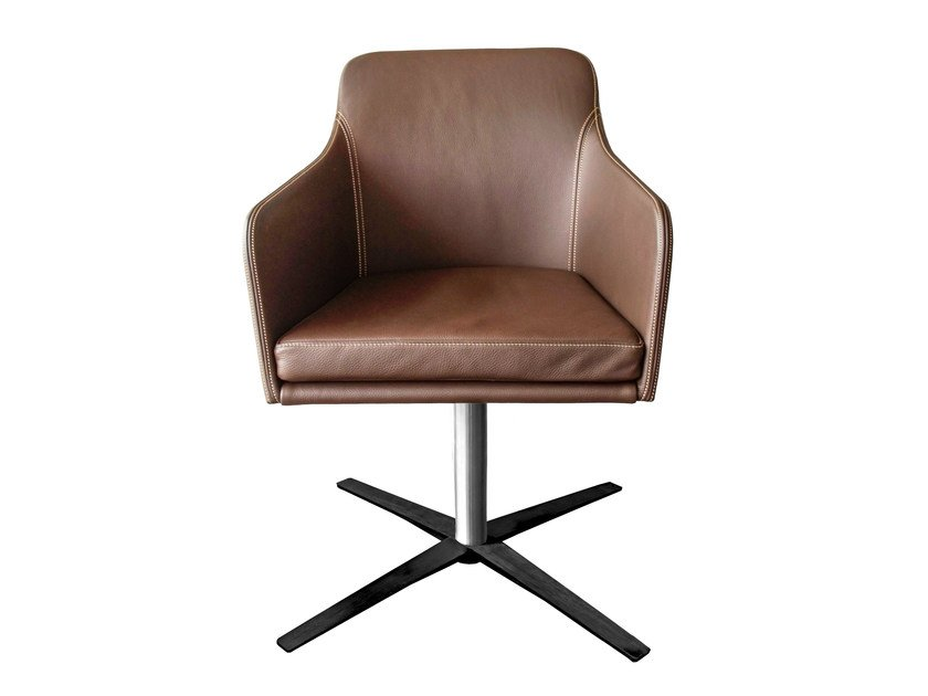 Upholstered leather chair with 4-spoke base with armrests YOUMA by KFF
