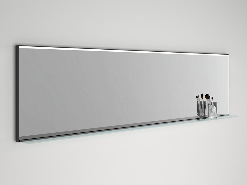 Wall-mounted mirror with integrated lighting LED LINE by Boffi