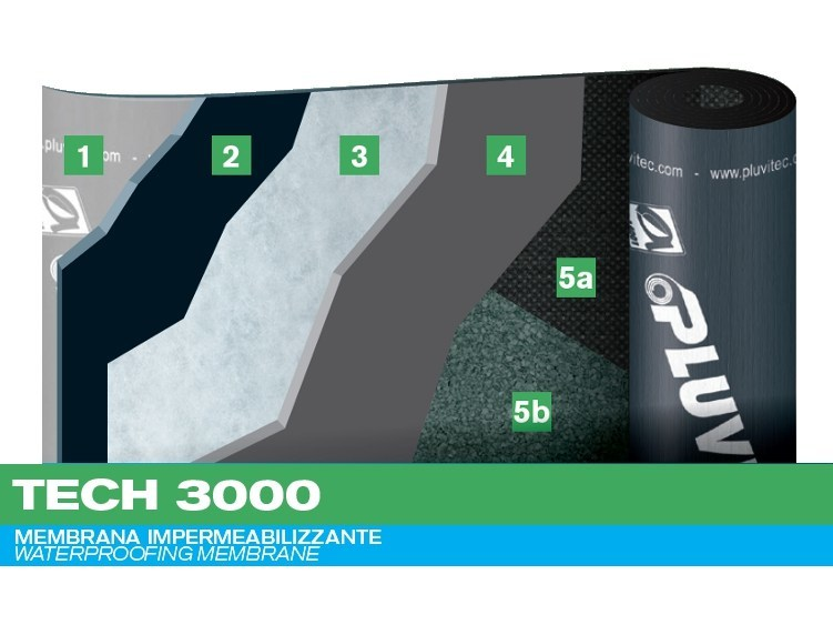 Prefabricated bituminous membrane TECH 3000 by PLUVITEC