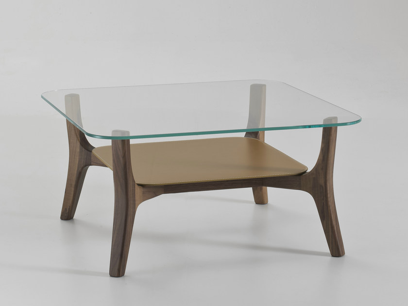 Square glass coffee table with integrated magazine rack SAVILE ROW | Square coffee table by i 4 Mariani