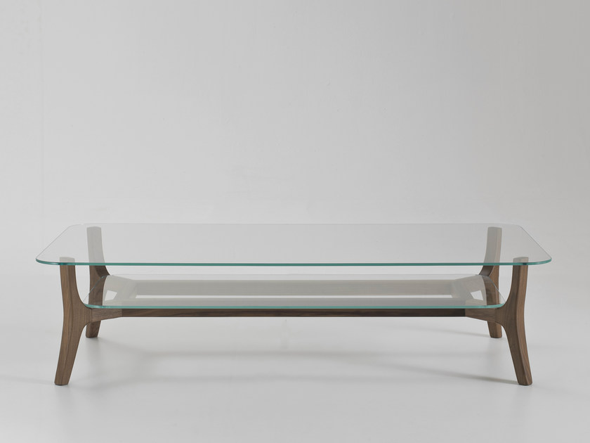 Rectangular glass coffee table with integrated magazine rack SAVILE ROW | Rectangular coffee table by i 4 Mariani