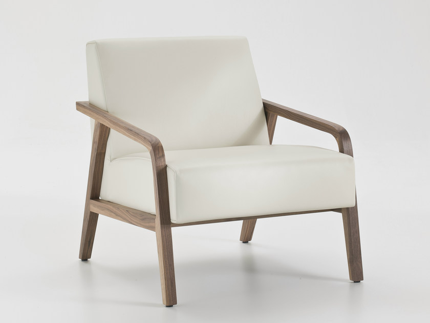 Upholstered leather armchair with armrests WOODY by i 4 Mariani