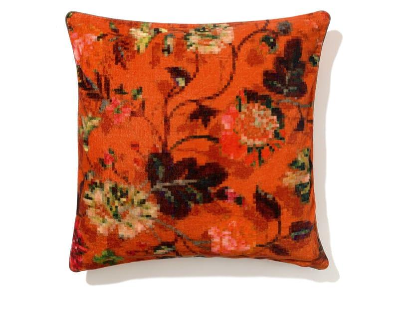 Square velvet cushion with removable cover EDEN by Élitis
