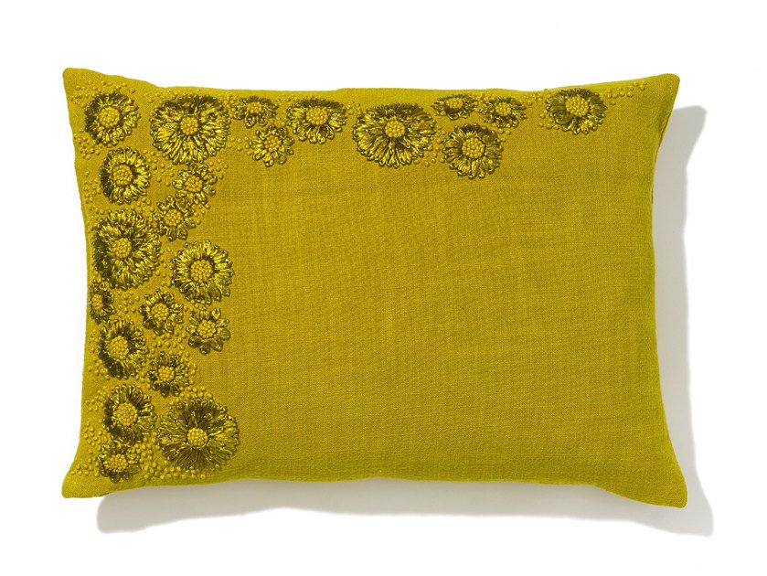 Rectangular hand embroidered cotton cushion with removable cover HAOMA by Élitis