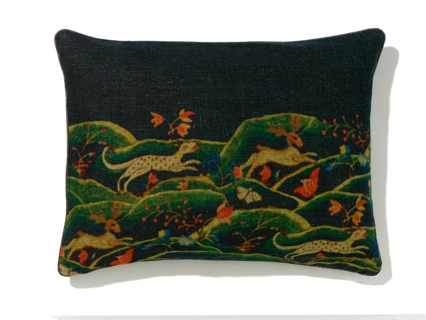Rectangular linen cushion with removable cover PERSIA by Élitis