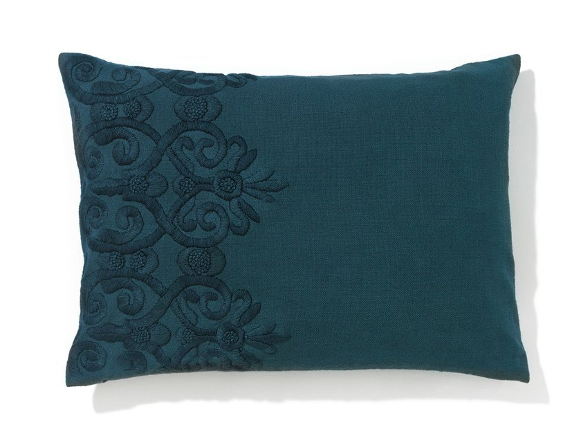 Rectangular hand embroidered cotton cushion with removable cover SAMANDAR by Élitis