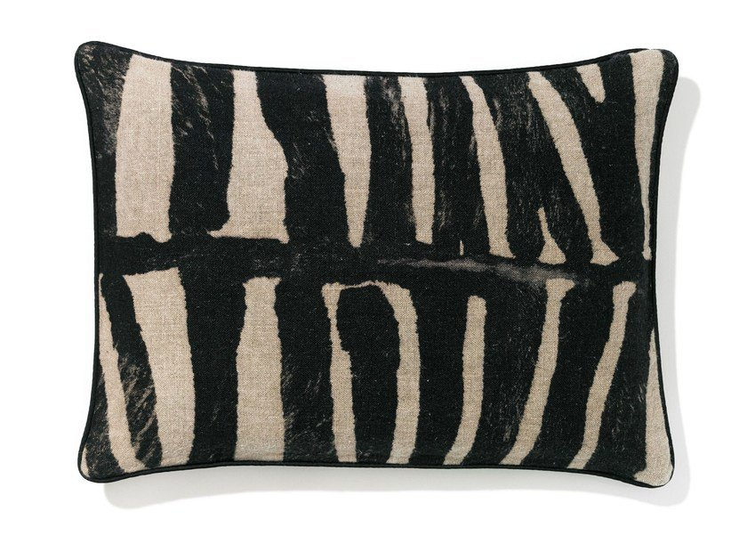 Rectangular linen cushion with removable cover ZEBRA by Élitis