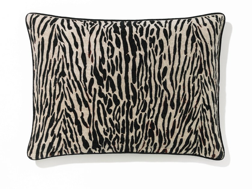 Rectangular linen cushion with removable cover TIGER by Élitis