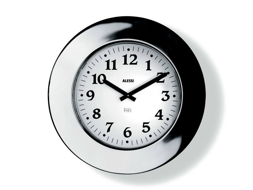 Wall-mounted stainless steel clock MOMENTO by Alessi