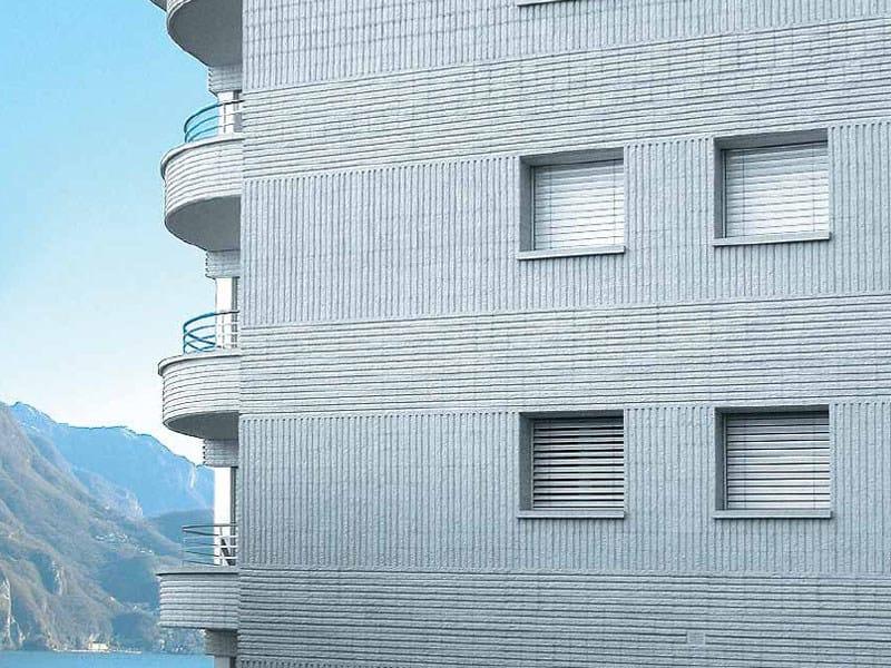 Lightweight concrete block partition BLOCCO ARCHITETTONICO SPLITTATO RIGATO by LecaSistemi