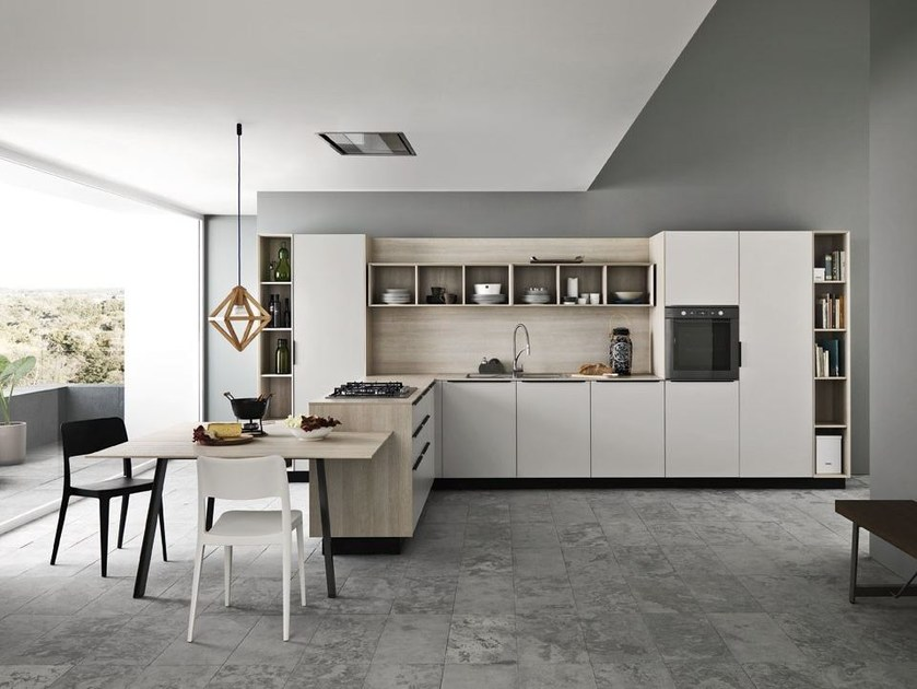 Fitted kitchen with handles ARIEL - COMPOSITION 1 by Cesar Arredamenti