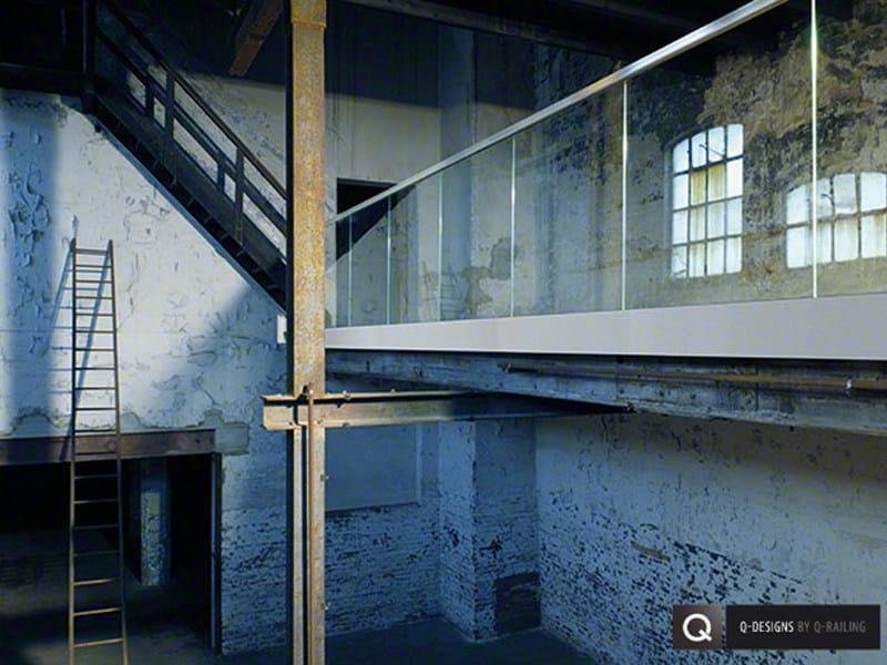 Glass and aluminium balustrade EASY GLASS® PRO Y by Q-RAILING ITALIA