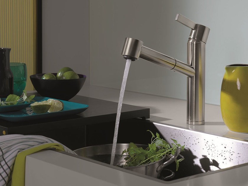 Kitchen mixer tap with swivel spout with pull out spray ENO | Kitchen mixer tap with pull out spray by Dornbracht
