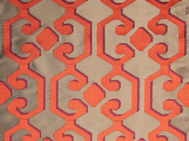 Velvet fabric with graphic pattern for curtains FLOURISH by Dedar