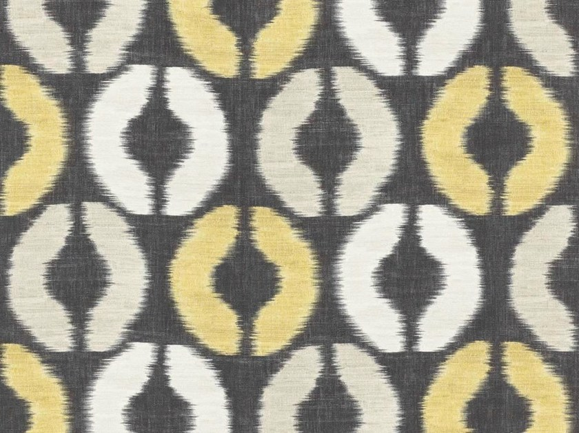 Washable multi-colored linen fabric with graphic pattern BASKIAT by Dedar