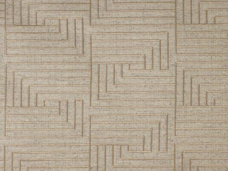 Embroidered upholstery fabric with graphic pattern LABIRINTO by Dedar