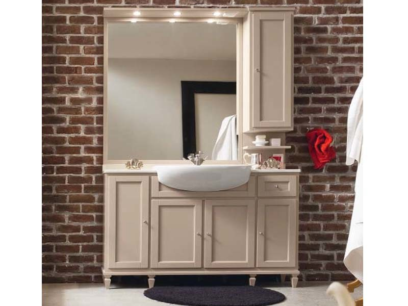 Wooden vanity unit with cabinets with mirror YORK 6 | Vanity unit by Cerasa