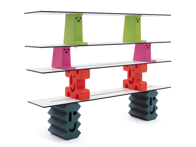 Sectional polyethylene kids bookcase LADRILLOS by Magis