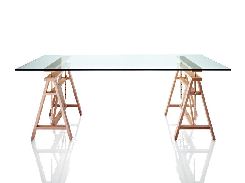 Height-adjustable wood and glass table TEATRO by Magis