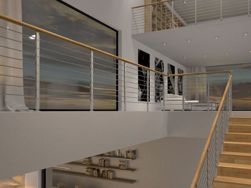 Stainless steel and wood Stair railing MINIMAL PLUS by RINTAL