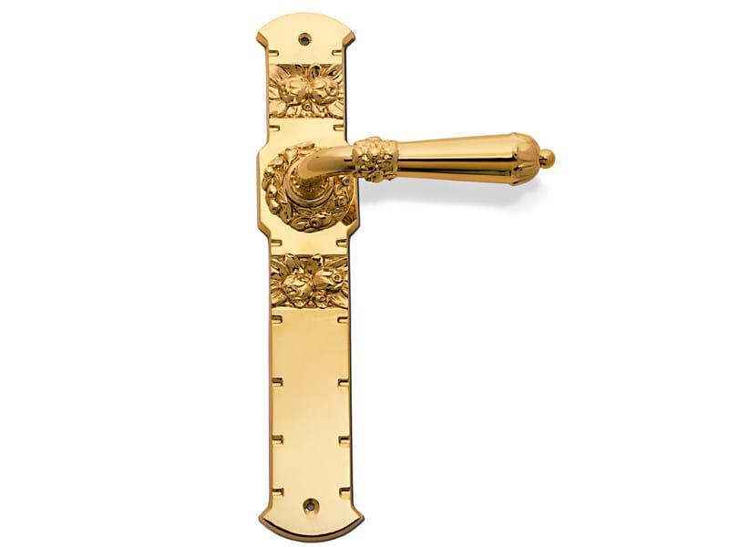 Brass door handle on back plate C09610 - TAMARA | Brass door handle by Enrico Cassina